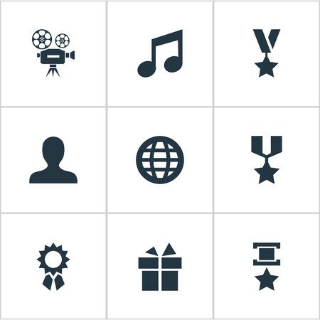 벡터 일러스트 레이 션 간단한 업적 아이콘 집합입니다. 요소 멜로디, 수상, 시네마 및 기타 동의어 수상, 시상 및 프로필.
