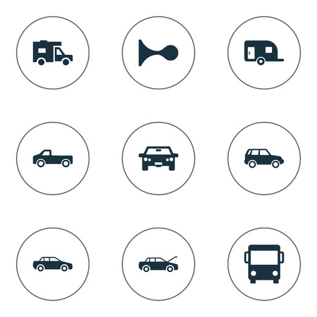 Vector Illustration Set Of Simple Automobile Icons. Elements Klaxon, Auto, Van And Other Synonyms Public, Trailer And Haulage. Illustration