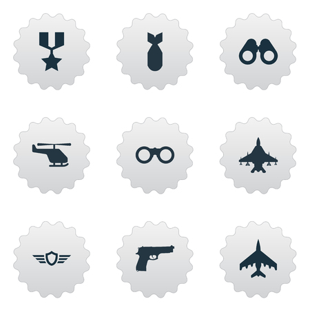 Vector Illustration Set Of Simple War Icons. Elements Pursuit Plane, Nuke, Hero Reward And Other Synonyms Force, Telescope And Zoom.