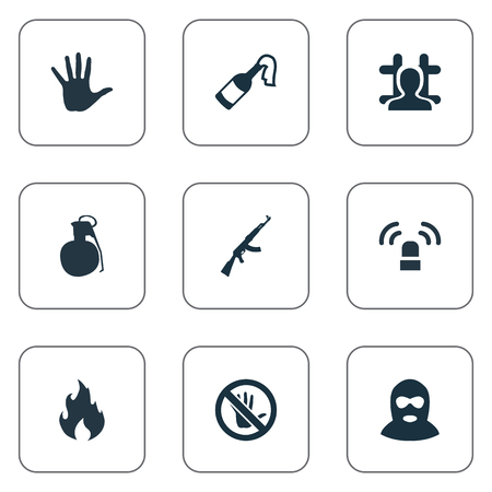 Vector Illustration Set Of Simple Police Icons. Elements Touch Forbidden, Bottle, Explosive And Other Synonyms Flame, Gangster And Signal.