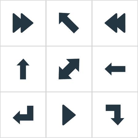 Vector Illustration Set Of Simple Indicator Icons. Elements Downward, Left Indication, Pointer And Other Synonyms Upwards, Arrow And Upward.