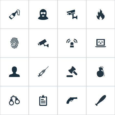 Vector Illustration Set Of Simple Fault Icons. Elements Vaccine, Siren, Person And Other Synonyms Person, Siren And Explosive. Illustration