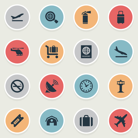 Vector Illustration Set Of Simple Travel Icons. Elements Global Research, Air Transport, Takeoff And Other Synonyms Ticket, Clock And Smoke.
