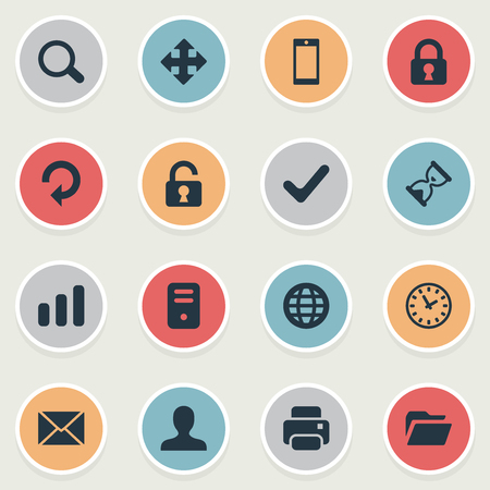 Vector Illustration Set Of Simple Apps Icons. Elements Lock, Refresh, Dossier And Other Synonyms Reload, Computer And Processor.