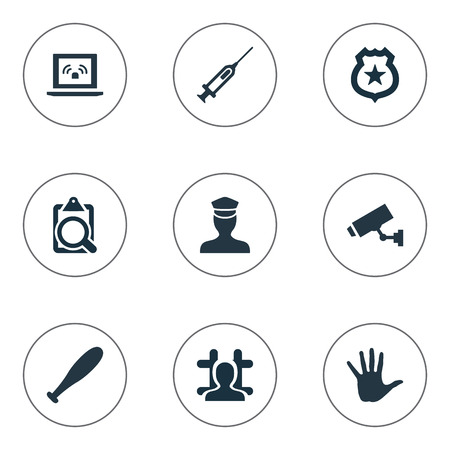 Vector Illustration Set Of Simple Police Icons. Elements Vaccine, Volunteer, Grid And Other Synonyms Vaccine, Sheriff And Jail. Illustration