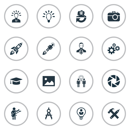 Vector Illustration Set Of Simple Visual Art Icons. Elements Business Discussion, Academic Cap, Intellect And Other Synonyms Team, Shot And Aperture.