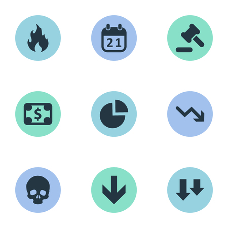 Vector Illustration Set Of Simple Impasse Icons. Elements Agenda, Tribunal, Fire And Other Synonyms Hammer, Skull And Law. Illustration