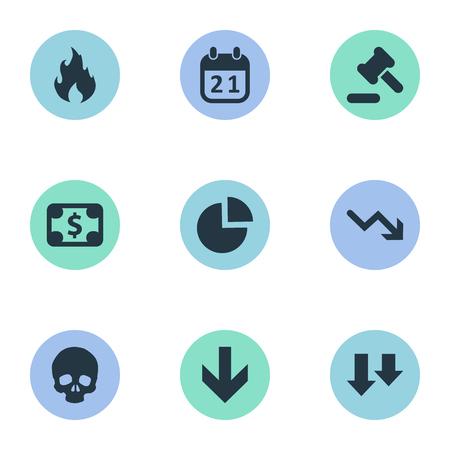 Vector illustratie Set van eenvoudige impasse pictogrammen. Elements Agenda, Tribunal, Fire and Other Synoniemen Hammer, Skull And Law.