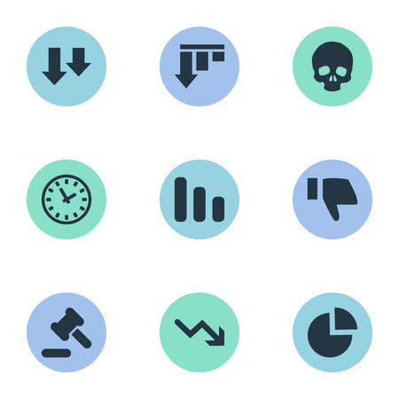Vector Illustration Set Of Simple Impasse Icons. Elements Clock, Circular Diagram, Descending And Other Synonyms Arrow, Thumb And Hammer.