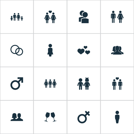 Vector Illustration Set Of Simple Couple Icons. Elements Friends, Children, Gay And Other Synonyms Lady, Alternative And Divorce.