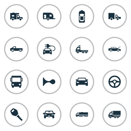 Vector Illustration Set Of Simple Automobile Icons. Elements Van, Camion, Caravan And Other Synonyms Automobile, Caravan And Beep.