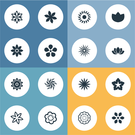 Vector Illustration Set Of Simple Rose Icons. Elements Aster, Gerberas;, Saffron And Other Synonyms Victoria, Floral And Harebell.