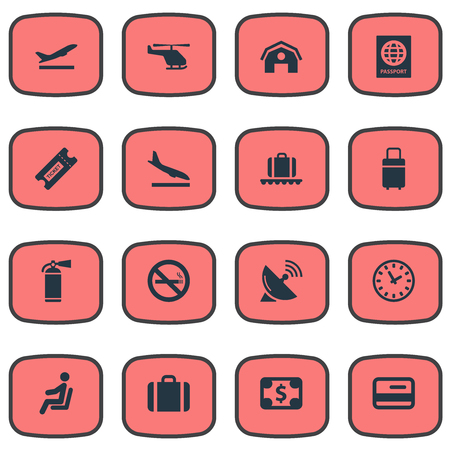 Vector Illustration Set Of Simple Travel Icons. Elements Cigarette Forbidden, Air Transport, Alighting Plane And Other Synonyms Sputnik, Garage And Bag. 일러스트