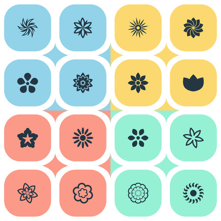 Vector Illustration Set Of Simple Flower Icons. Elements Morning Glory, Gerberas;, Cypress And Other Synonyms Rose, Saffron And Laurel.