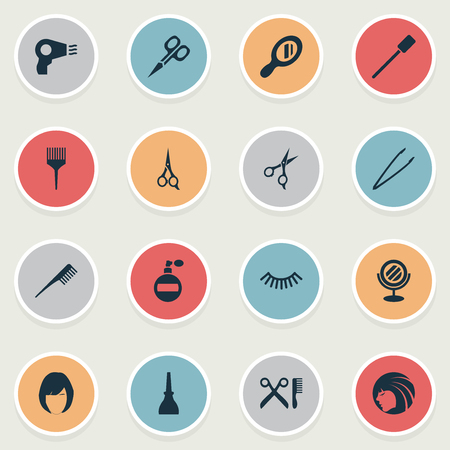 Vector Illustration Set Of Simple Spa Icons. Elements Nail Polish, Barbershop, Glass And Other Synonyms Shears, Scissors And Barbershop.