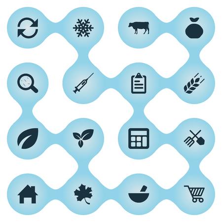 Vektor-Illustrations-Satz einfache Landwirtschafts-Ikonen. Elemente erfrischen, Spritze, Schneeflocke und andere Synonyme Informationen, Virus und Gartenbau. Standard-Bild - 74633757