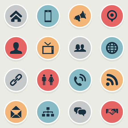 Vector Illustration Set Of Simple Network Icons. Elements Handset, Letter, Telly Synonyms Networking, Conversation And House. Ilustração