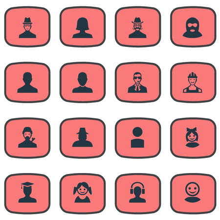 postgraduate: Vector Illustration Set Of Simple Avatar Icons. Elements Insider, Internet Profile, Postgraduate And Other Synonyms User, Male And Little.