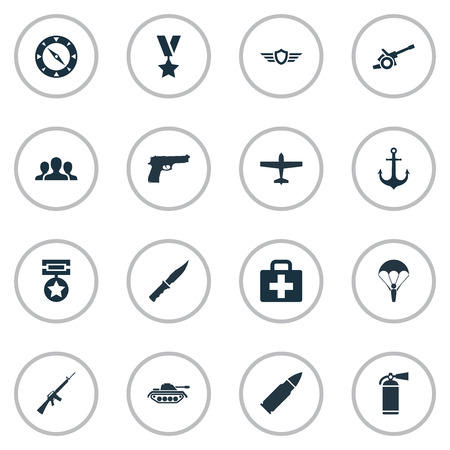 Vector Illustration Set Of Simple Army Icons. Elements Medal, Howitzer, Ship Hook And Other Synonyms Gun, Group And Military.