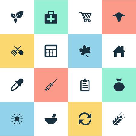 Vektor-Illustration Satz von einfachen landwirtschaftlichen Icons. Elements Refresh, Sack, Medical Kit und andere Synonyme Blätter, Taschenrechner und Farm. Standard-Bild - 74790323