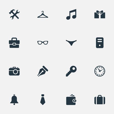 Vector Illustration Set Of Simple Instrument Icons. Elements Eyeglasses, Time, Business Bag And Other Synonyms Clothes, Musical And Device.