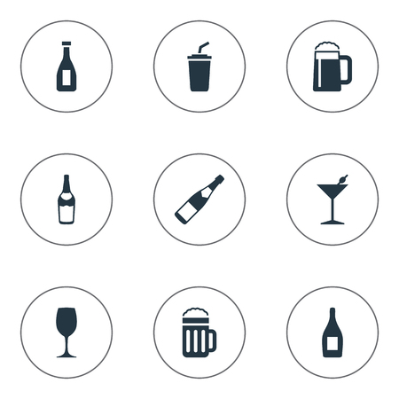 Vector Illustration Set Of Simple Water Icons. Elements Plastic Mug, Champagne, Glassware And Other Synonyms Pub, Whiskey And Plastic.