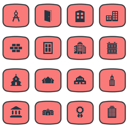superstructure: Vector Illustration Set Of Simple Construction Icons. Elements Structure, Shelter, Popish And Other Synonyms Superstructure, Architecture And Apartment.