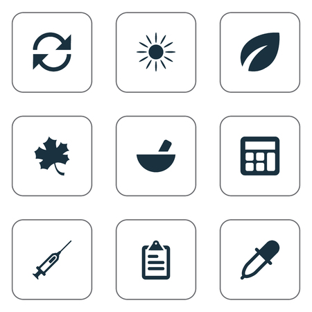 insolación: Vector Illustration Set Of Simple Harvest Icons. Elements Refresh, Pipette, Sunshine And Other Synonyms Recycle, Remedy And Drug.
