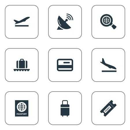 Vector Illustration Set Of Simple Plane Icons. Elements Travel Bag, Takeoff, Global Research And Other Synonyms Wold, Conveyor And Passport.
