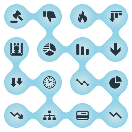Vector Illustration Set Of Simple Impasse Icons. Elements Descending, Penitentiary, Down Cursor And Other Synonyms Court, Downward And Decreasing.