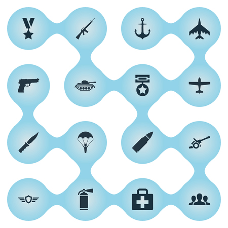 Vector Illustration Set Of Simple Military Icons. Elements Pursuit Plane, Group, Medical Kit And Other Synonyms Shield, Gun And Medal.