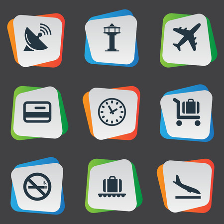 Set Of Simple Travel Icons. Elements Luggage Carousel, Flight Control Tower, Alighting Plane And Other Synonyms Antenna, Baggage And Alighting. 일러스트