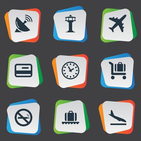 간단한 여행 아이콘의 집합입니다. 요소 수하물 회전 목마, 비행 제어 탑, 기수 평면 및 기타 동의어 안테나, 수하물 및 등대.