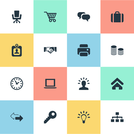 storage device: Vector Illustration Set Of Simple B2B Icons. Elements Printing Machine, Identity Card, Relationship And Other Synonyms Badge, Laptop And Arrow.