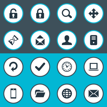 profile measurement: Vector Illustration Set Of Simple Practice Icons. Elements Lock, Computer Case, Envelope And Other Synonyms Lock, Human And Ticker.