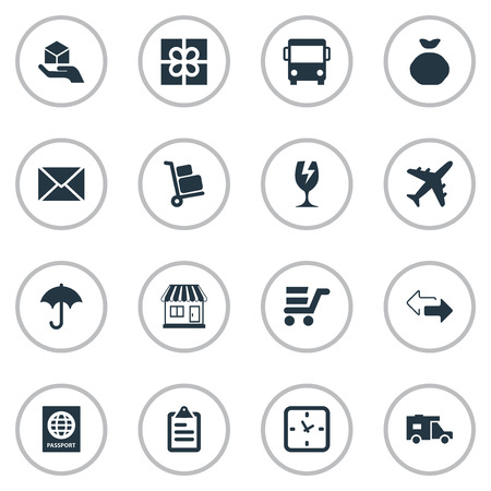 holdall: Vector Illustration Set Of Simple Delivery Icons. Elements Pushcart, Envelope, Packaging And Other Synonyms Holdall, Message And Clock.