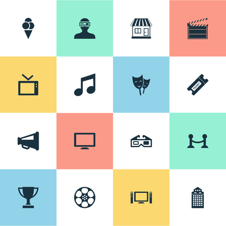 Vector Illustration Set Of Simple Cinema Icons. Elements Action, Spectator, Structure And Other Synonyms Megaphone, Sundae And Cinema. Illustration