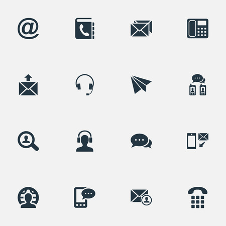 telephone icons: Vector Illustration Set Of Simple Contact Icons. Elements Telephone Directory, Posting, Postal And Other Synonyms Chat, Mailing And Earphone.