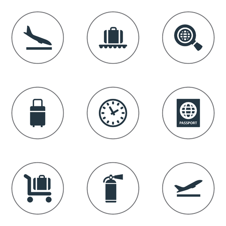 Vector Illustration Set Of Simple Plane Icons. Elements Global Research, Baggage Cart, Takeoff And Other Synonyms Trolley, Earth And Airplane.