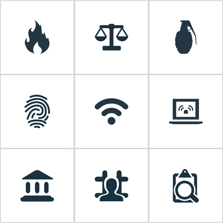 Vector Illustration Set Of Simple Police Icons. Elements Identification, Explode, Arrested And Other Synonyms Searching, Explode And Document.