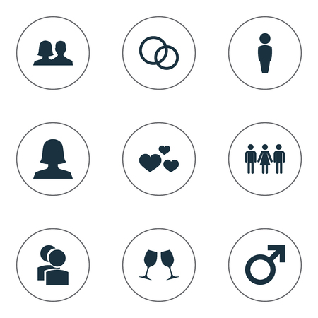 Vector Illustration Set Of Simple Beloved Icons. Elements Candidate, Mates, Male Synonyms Gentleman, People And Wife.