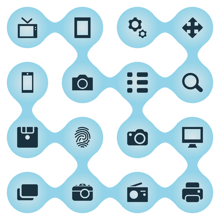 Vector Illustration Set Of Simple Digital Icons. Elements Save, Television, Photocopier And Other Synonyms Layout, Smartphone And Magnifier. Illustration