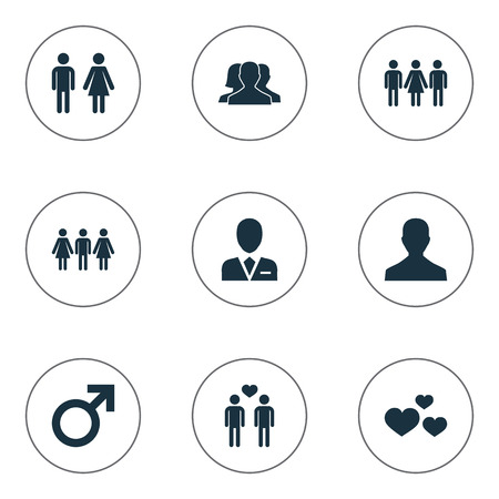 Vector Illustration Set Of Simple Couple Icons. Elements Dissolve The Marriage, Candidate, Husband Synonyms Pair, Choice And Gay.