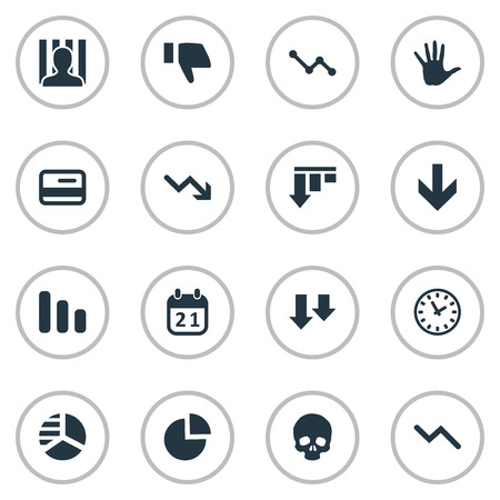 doomed: Vector Illustration Set Of Simple Situation Icons. Elements Head Bone, Penitentiary, Graph Decreases And Other Synonyms Thumb, Plastic And Circular. Illustration