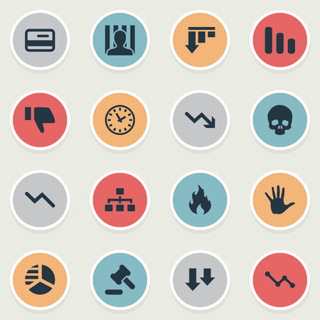 Vector Illustration Set Of Simple Impasse Icons. Elements Tribunal, Net, Info Graph And Other Synonyms Head, Bone And Jailer. Illustration
