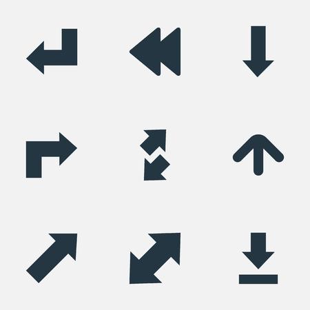 벡터 일러스트 레이 션 간단한 커서 아이콘의 집합입니다. 요소 후방, 지표, 상승 - 가을 및 기타 동의어 떨어지는, 뒤로 및 상향.