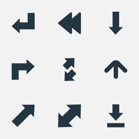 Vector Illustration Set Of Simple Cursor Icons. Elements Rearward, Indicator, Raise-Fall And Other Synonyms Falling, Backward And Upward. Фото со стока - 75245398