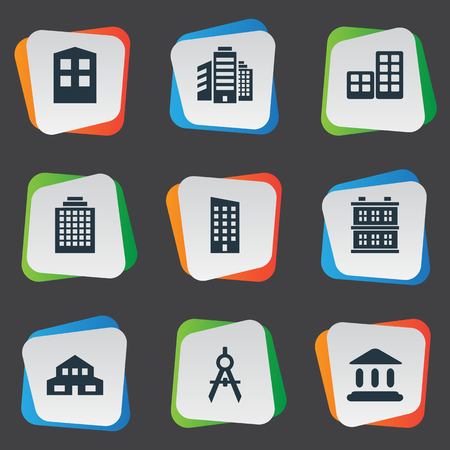 architect tools: Vector Illustration Set Of Simple Architecture Icons. Elements Construction, Block, Residential And Other Synonyms Flat, Residential And Cottage.