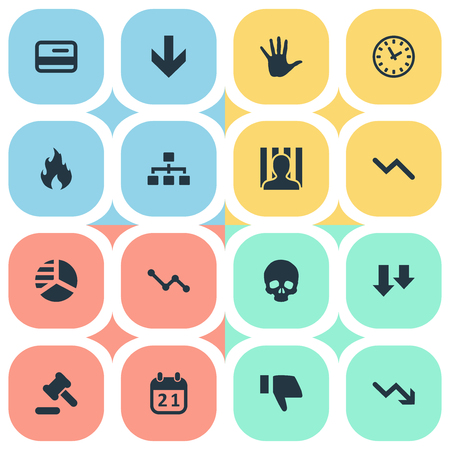 Vector Illustration Set Of Simple Trouble Icons. Elements Descending, Down Cursor, Round Graph And Other Synonyms Court, Hammer And Hand. Illustration