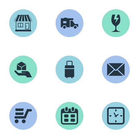 Vector Illustration Set Of Simple Distribution Icons. Elements Packaging, Caravan, Pushcart And Other Synonyms Date, Trade And Mail. Illustration